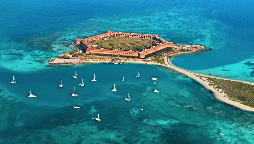 Aerial photo of the fort at Dry Tortugas National Park