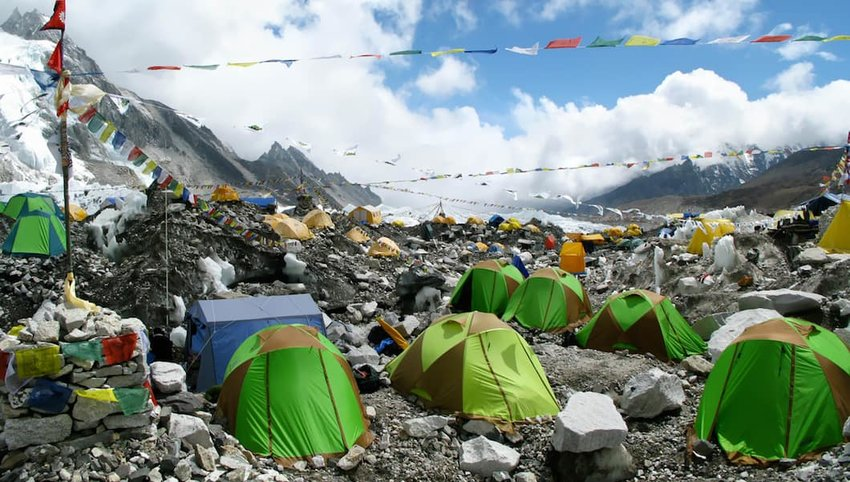 Photo of green tents at Mt. Everest Base Camp