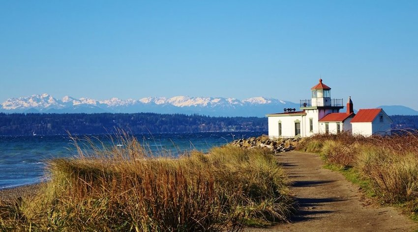 Photo of Lighthouse at Discovery Park in Seattle on Puget Sound's Elliott Bay
