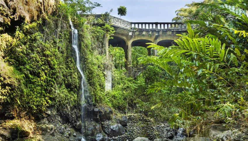 Photo of lush greenery and a waterfall with a road in the background