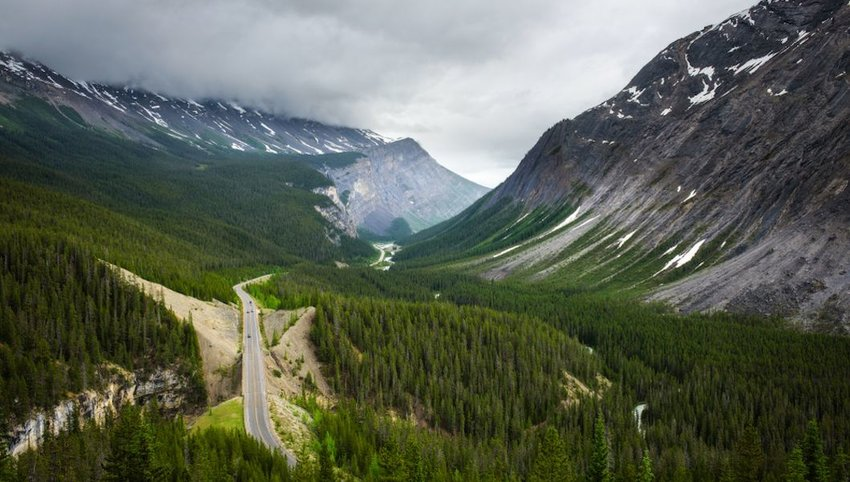 Photo of a road running through forest in Canada with mountains on either side