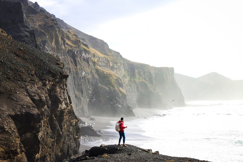 Person standing alone along the sea and cliffs of Iceland