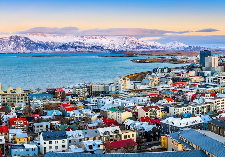 Aerial shot of downtown Reykjavik, Iceland