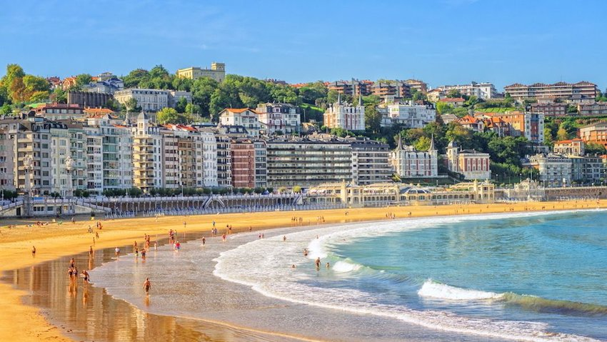 Sandy beach in San Sebastian, Spain