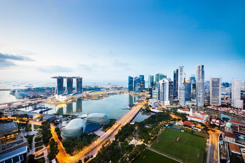 Aerial photo of Singapore skyline