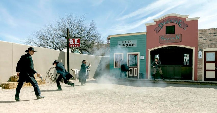 Photo of reenactment of OK Corral shootout