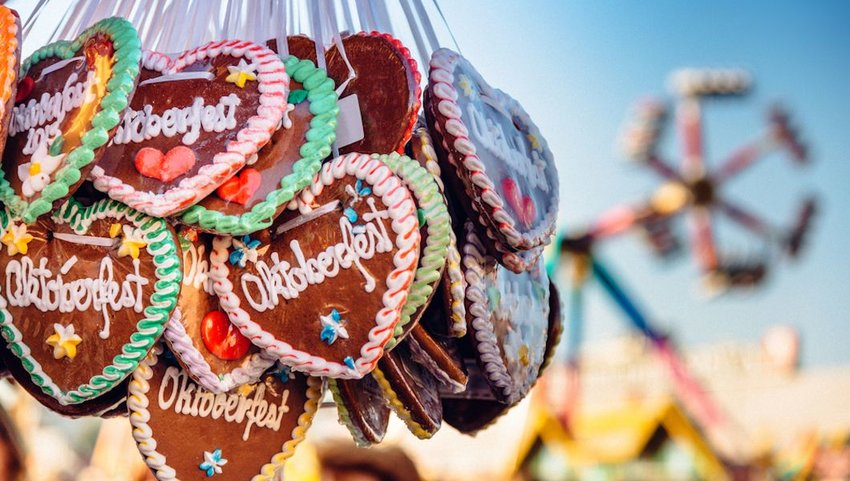 A typical souvenir at the Oktoberfest in Munich - a gingerbread heart.