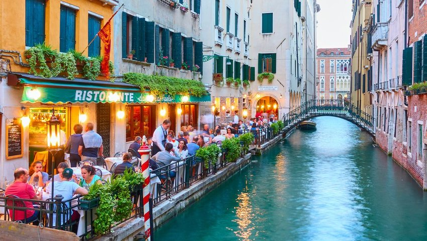 Restaurant on at canal in Venice