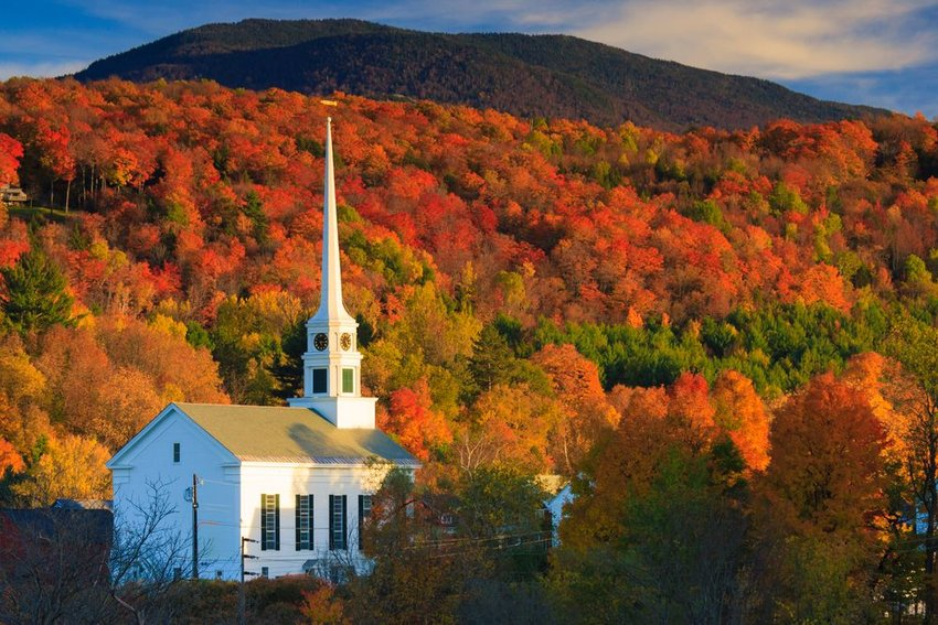Fall Foliage and the Stowe Community Church