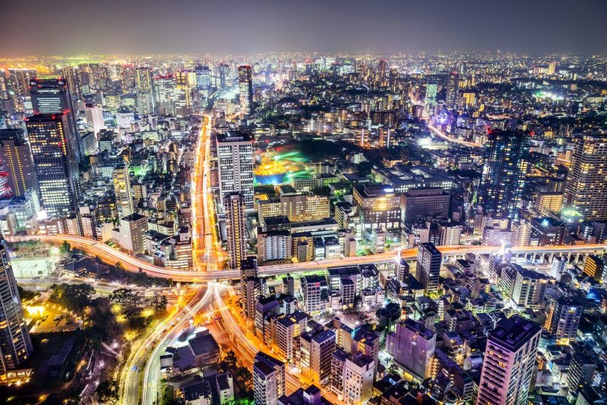 Aerial photo of Tokyo at night