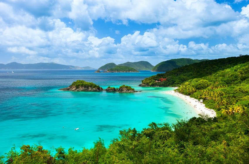 Aerial view of picturesque Trunk bay on St John island