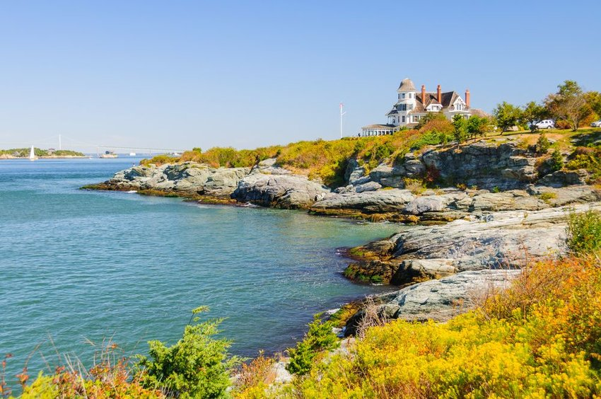 Castle Hill lighthouse in Rhode Island in Autumn