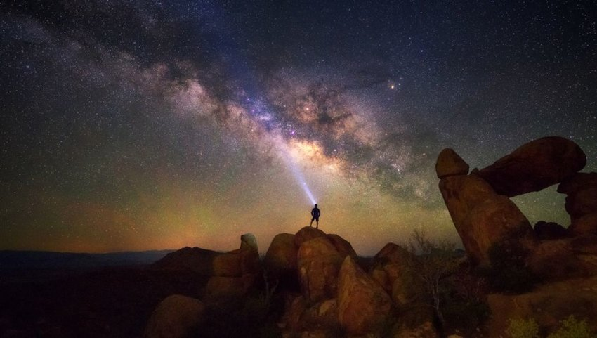 Milky way at Balanced Rock, Big Bend National park