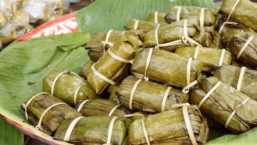 Sticky rice wrapped in banana leaves.