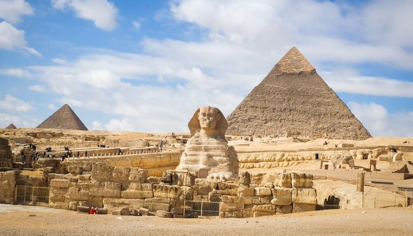Giza Pyramid complex in Cairo, Egypt