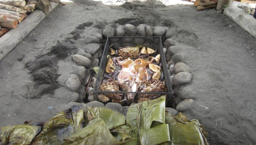 Outdoor Underground Oven in South Pacific Island with Pig Roast.