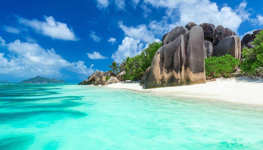 beach on island La Digue in Seychelles