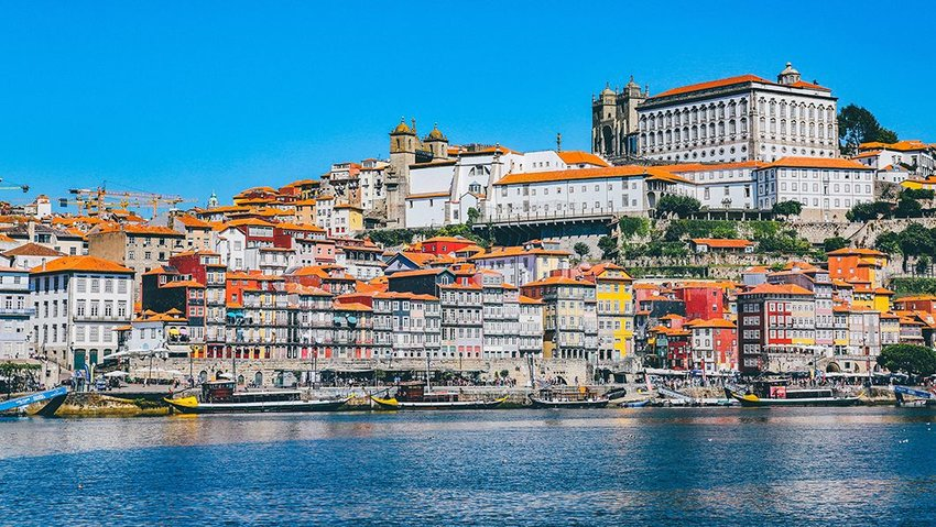 Buildings beside the sea in Porto, Portugal