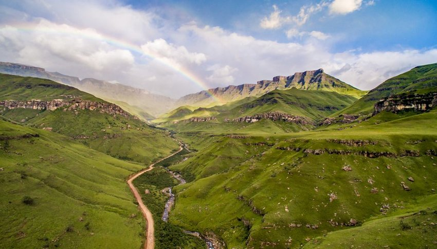Green landscape at Sani Pass at South Africa and Lesotho border