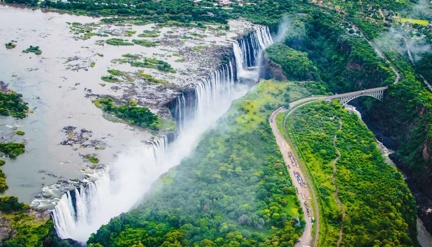 Victoria Falls in southern Africa on the Zambezi River