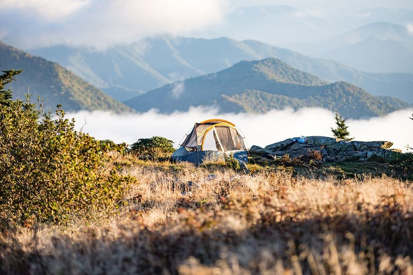 Tent on a mountaintop in fall