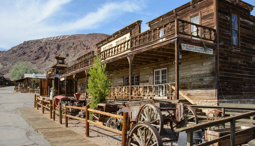 Old wooden saloon in the ghost town of Calico, California