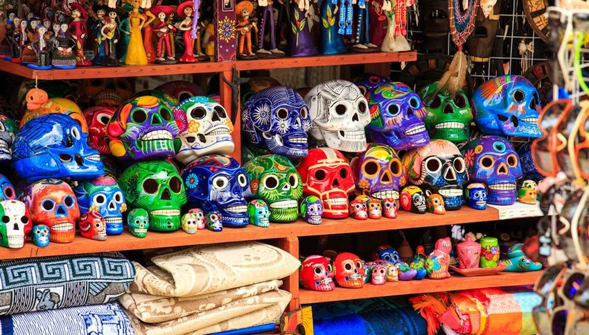 colorful souvenirs at market in Playa del Carmen
