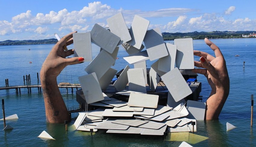 floating theater on the surface of Lake Constance in Bregenz, Austria