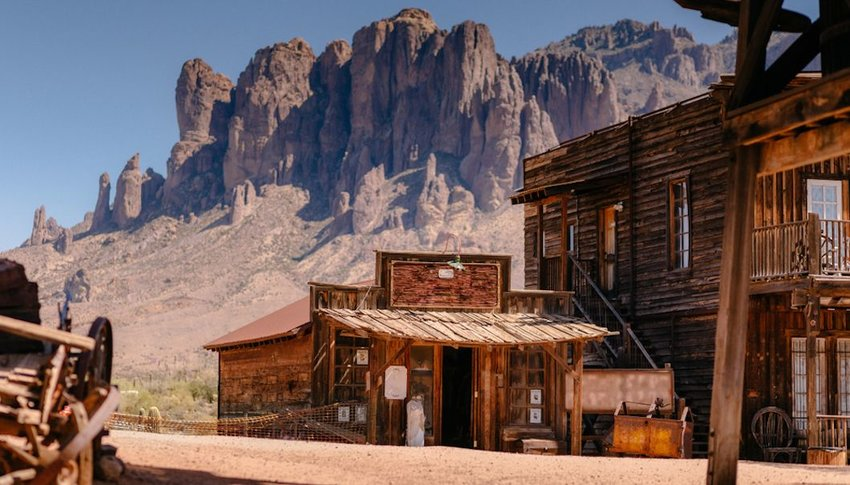 Old Western Wooden Buildings in Goldfield ghost town