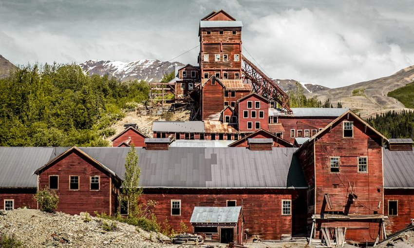 abandoned buildings at the former Kennecott Copper mine in Alaska