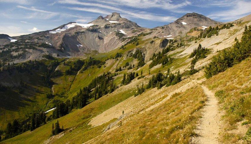Pacific Crest Trail winds through Cispus Basin in Washington's Goat Rocks Wilderness