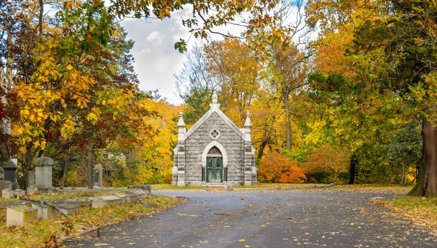 Sleepy Hollow Cemetery surrounded by autumnal fall foliage