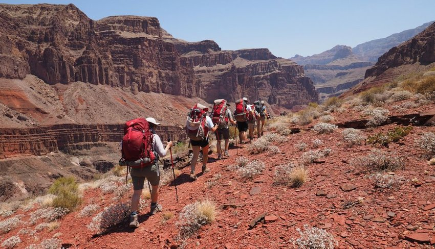 Backpackers on the Tonto Trail in the Grand Canyon