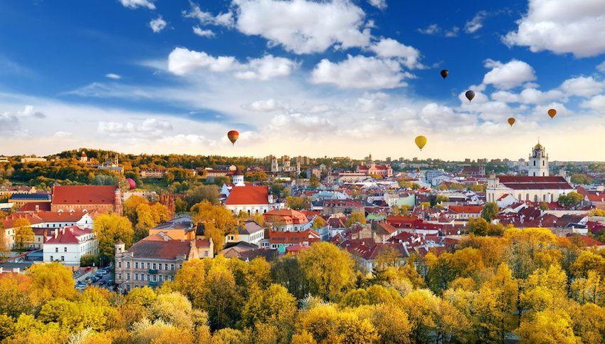 Hot air balloons over the Old Town of Vilnius