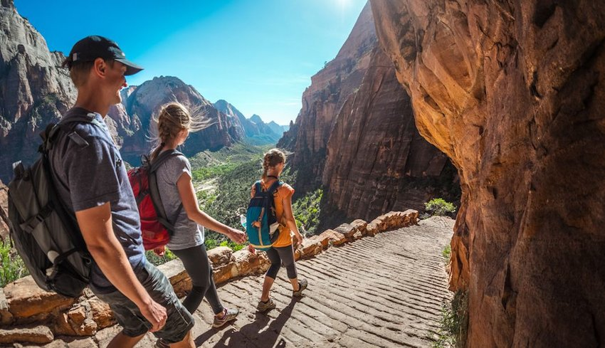 Group of hikers  walking through Zion National Park