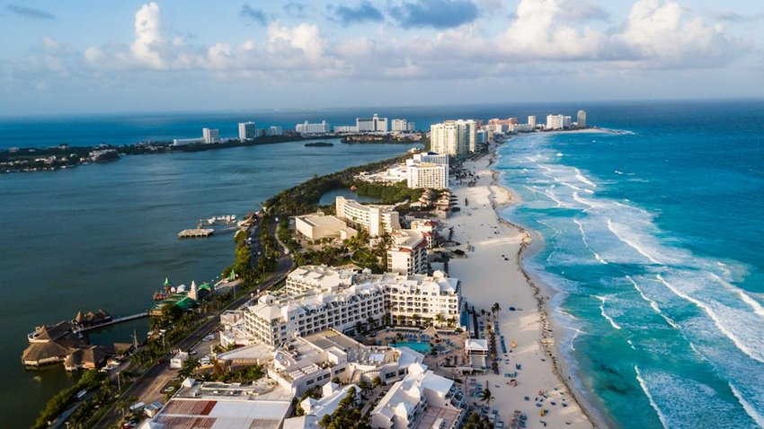 aerial view of hotels along Cancun beach