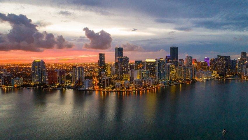 Aerial twilight view of Miami skyline