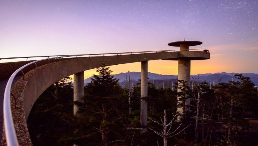 Sunset over the Observation Tower at Clingman's Dome, Smoky Mountains