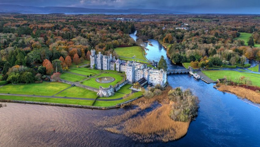 Aerial view of Ashford Castle on an autumn day, Ireland