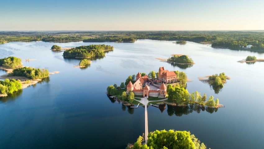 Early morning at Trakai Castle on an island in Lake Galvė, Lithuania