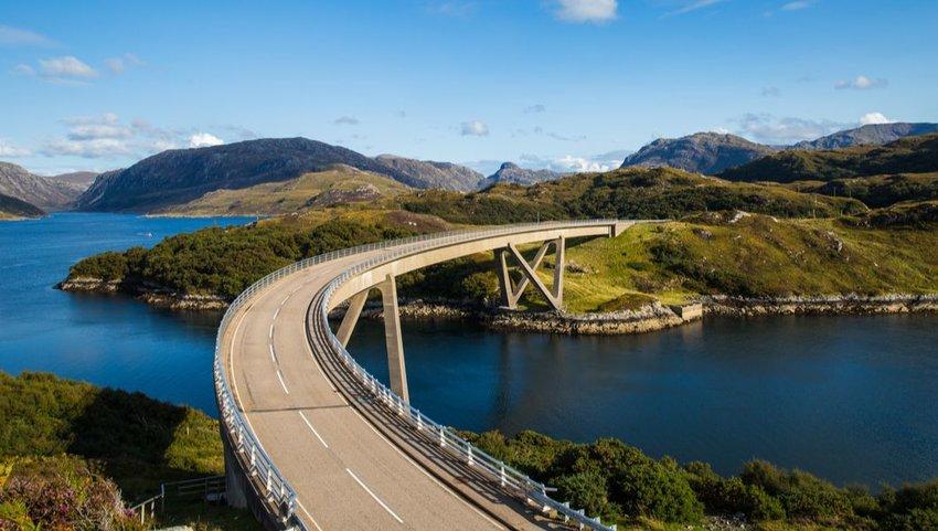 Kylesku Bridge on the A894, North Coast 500, Sutherland Scotland