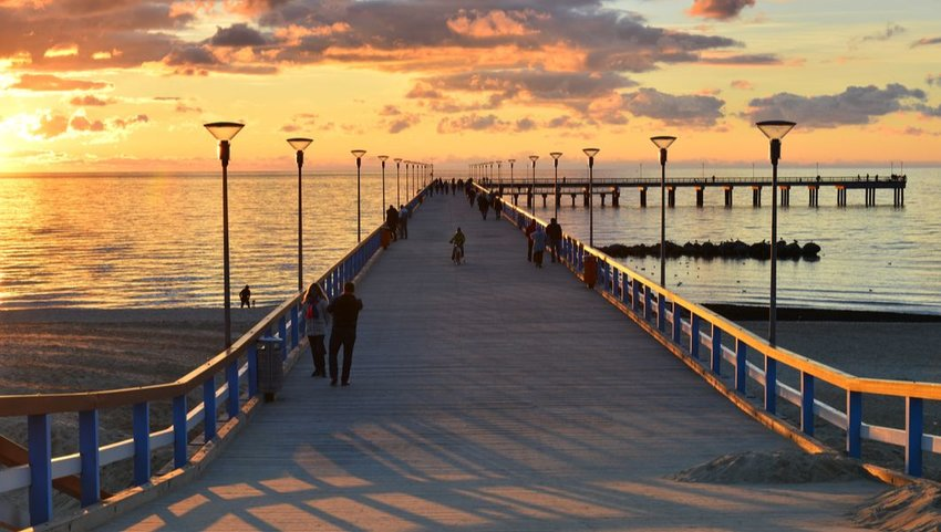 Sunset at the pier of Palanga Beach, Lithuania