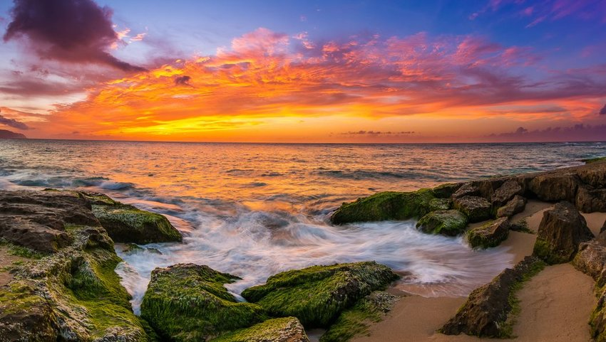 Sunset over the North Shore of Oahu, Hawaii
