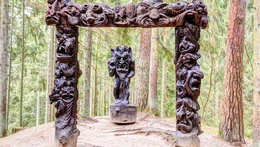 Old wooden sculptures in Witch Hill Park, Lithuania