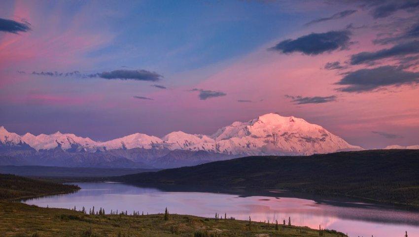 Colorful alpenglow sunset over Mount Denali, Alaska