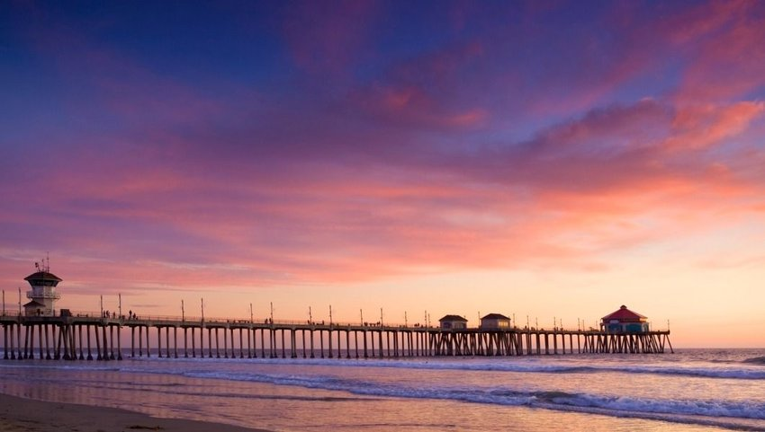 Sunset in Huntington Beach, Southern California