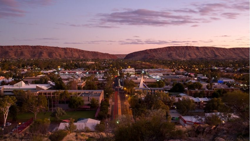 Sunset view from Anzac Hill, Alice Springs, Northern Territory, Australia
