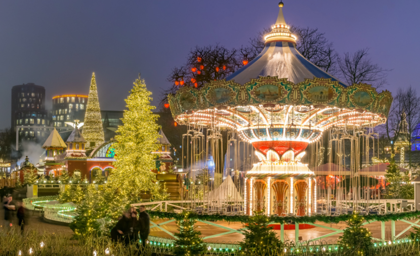 The carousel and Christmas illumination in Tivoli Gardens, Copenhagen, Denmark