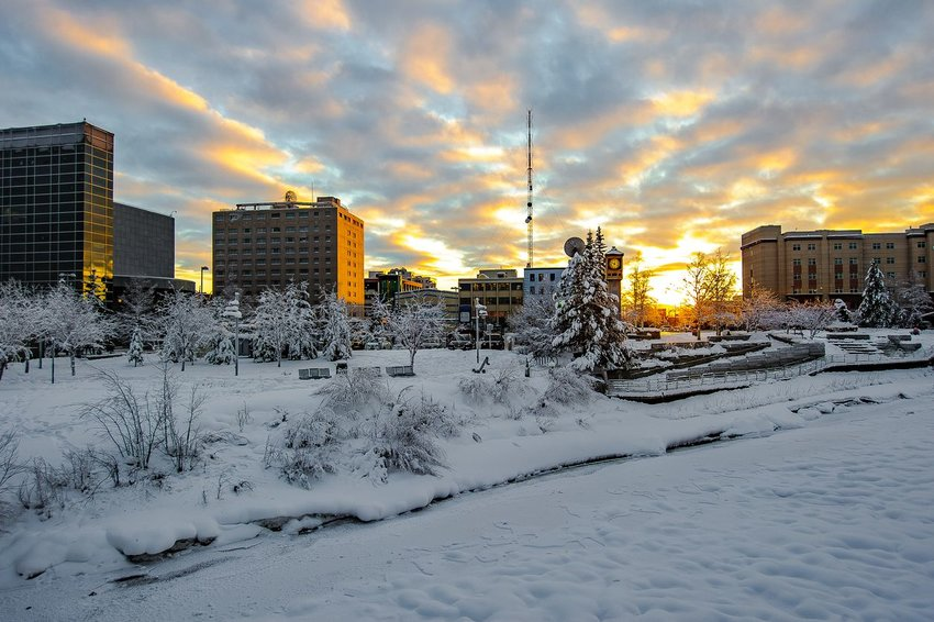 View of Fairbanks, Alaska in winter.