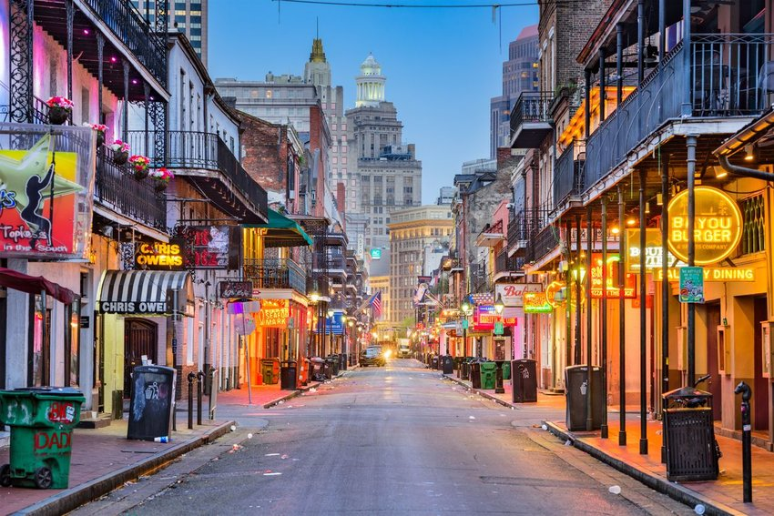 Bourbon Street in New Orleans in the early morning